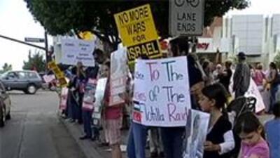 Activistas protestando ataque en Gaza