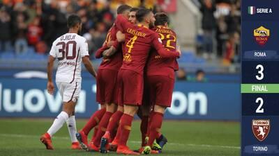 Sufriendo, pero la Roma ganó para tomar puestos de Champions