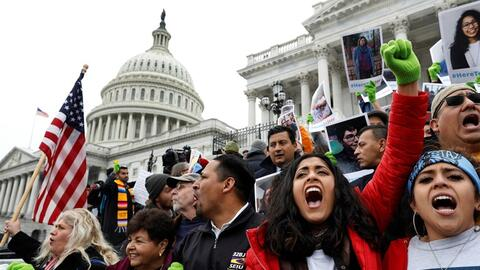 Supporters of the Dreamers Act rally in Washington on Dec, 6, 2017 to ur...