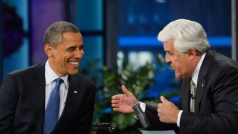 El presidente Barack Obama junto al animador y comediante Jay Leno.