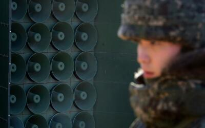 Altavoces instalados en la frontera de las Coreas.