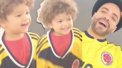 Le quedó grande la camiseta pero la trae bien puesta: el hijo menor de Nacho apoya a Colombia