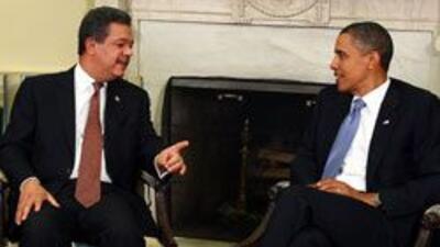 El presidente de Republica Dominicana, Leonel Fernandez, se reunio con e...