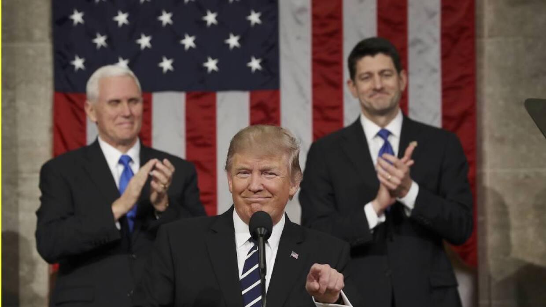 Donald Trump addresses Congress February 28, devoting much of his speech...
