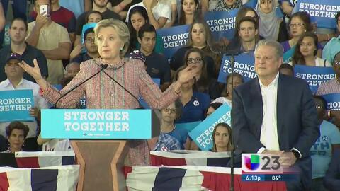 Al Gore y Hillary Clinton hacen campaña en Florida