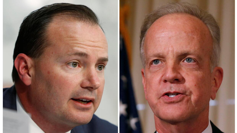 Senadores Mike Lee (Utah) y Jerry Moran (Kansas), los dos últimos legisl...