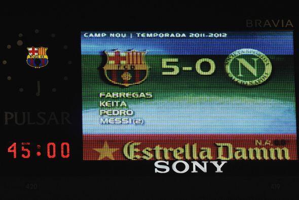La pantalla gigante del Camp Nou mostraba el marcador final.