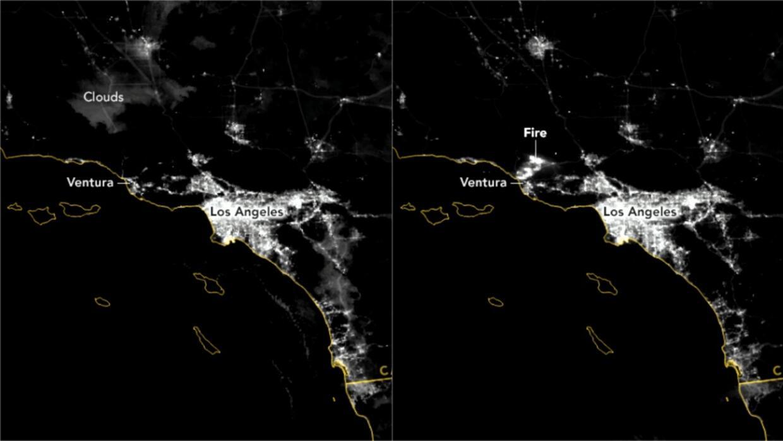 Comparativa de imágenes nocturnas captadas el lunes (izquierda) y el mar...