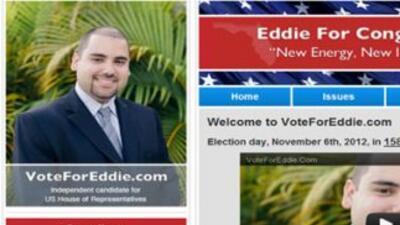 La página de Internet del candidato es también su nombre. En su foto bio...