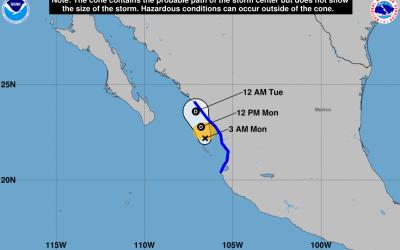 Gráfico con la trayectoria de la tormenta tropical Pilar sobre la...