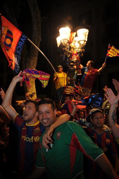 Las Ramblas mostraban múltiples banderas del Barcelona, así como 'senyer...