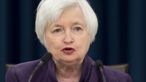 La Presidenta de la Reserva Federal, Janet Yellen, durante la conferenci...