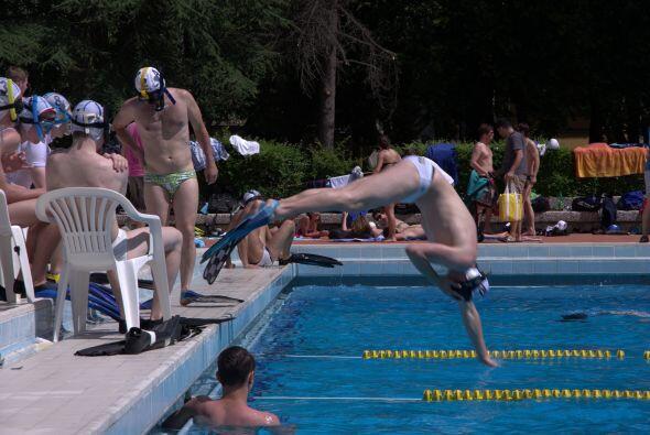 Se necesita una piscina, doce jugadores, seis en cada equipo, un traje d...