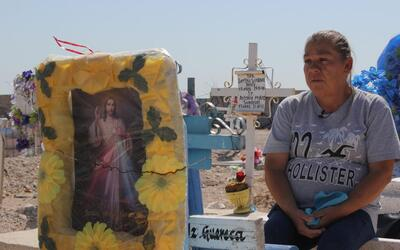 María Guadalupe Güereca visits the grave of her son, Sergio...