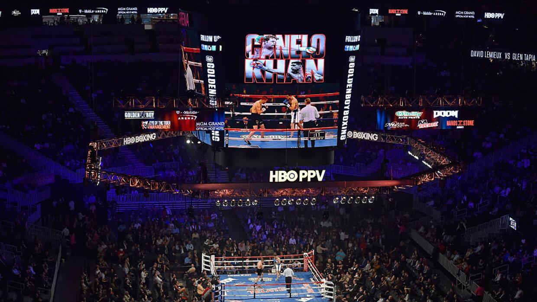 EL ring del T-Mobile Arena listo parav la pelea.