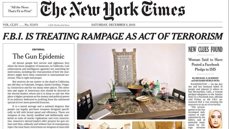 Portada del diario The New York Times del sábado 5 de diciembre de 2015