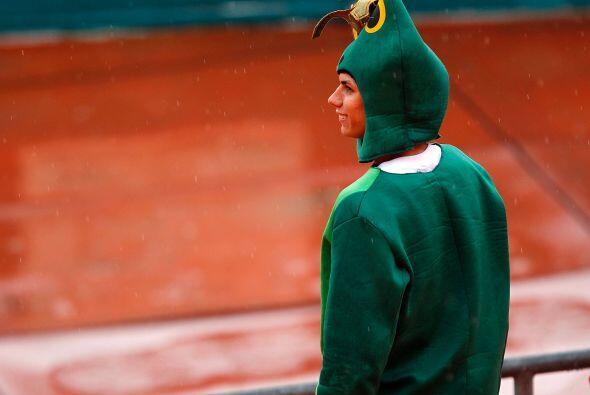 Este aficionado supo que había posibilidad de lluvia y decidió vestirse...