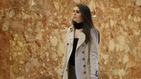 Hope Hicks in the lobby of Trump Tower, New York.