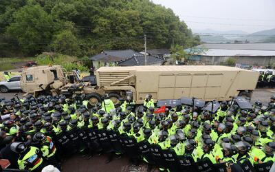 Un vehículo militar de EEUU que forma parte del sistema de defens...