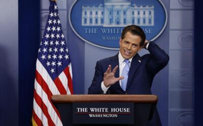 Anthony Scaramucci durante su primera rueda de prensa como director de c...