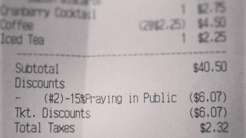 El recibo es de un restaurante en Winston-Salem, Carolina del Norte llam...