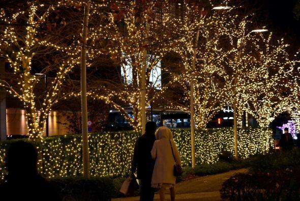 Sobre la acera de la ciudad puedes dar un pequeño paseo rodeado de luces...