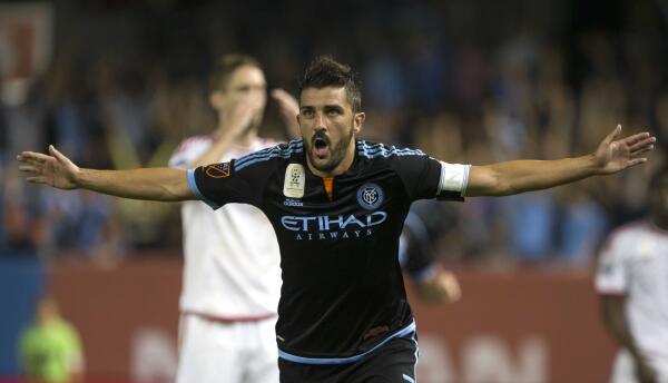 David Villa celebra el triunfo de NYCFC