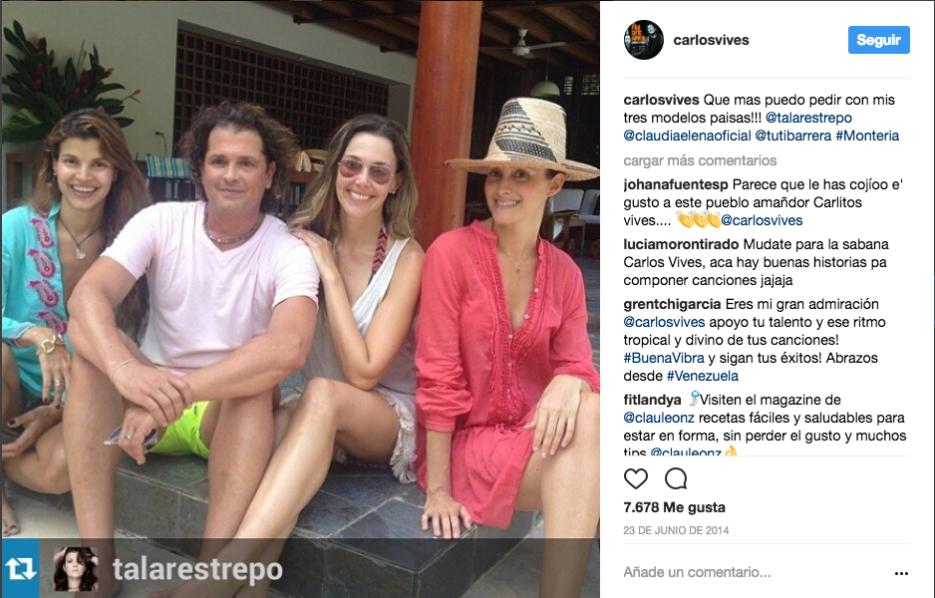 Relajado con su esposa, la modelo Tala Restrepo, y sus amigas Claudia El...