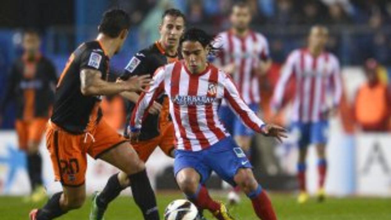Falcao marcó el tanto de los 'Colchoneros', que al igual que Valencia an...