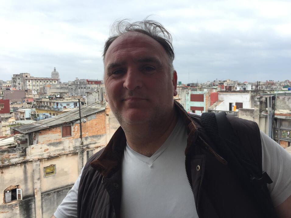 Chef José Andrés on the roof of La Guarida restaurant in Central Havana