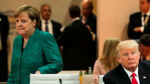 Angela Merkel y Donald Trump durante la reunión del G20 en Hambur...