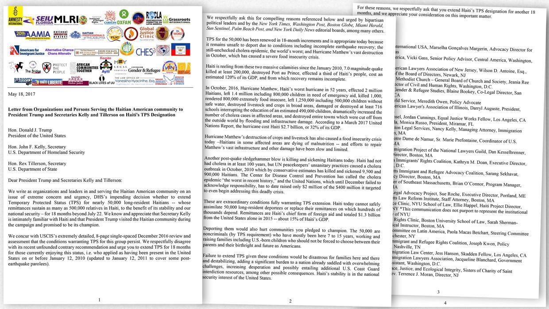 Carta enviada por el Instituto de Justicia y Democracia en Haití para pe...
