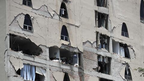 Un edificio dañado en Ciudad de México.