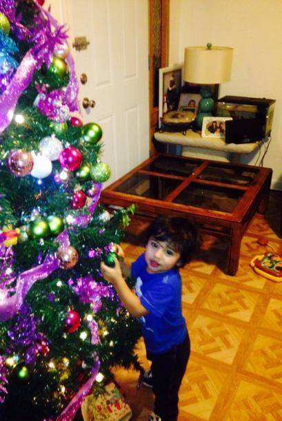 Aiden Contreras compartió la foto de un hermoso bebe decorando el arboli...