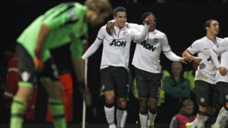Van Persie celebra el gol del empate ante West Ham.