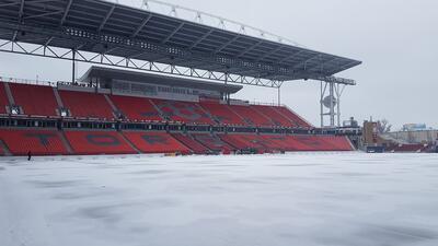 Un par de días atrás el BMO Field estaba cubierto de nieve.