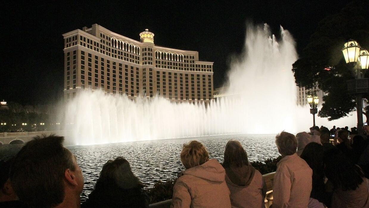 Espectáculo de agua y luz del hotel y casino Bellagio, en Las Vegas