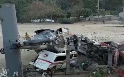 En los vehículos sobre los que cayó la nave dormían...
