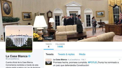 The Spanish Twitter account of the Trump White House