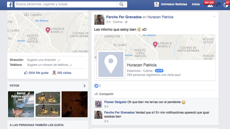 Facebook habilitó la herramienta Safety Check por la tormenta Patricia