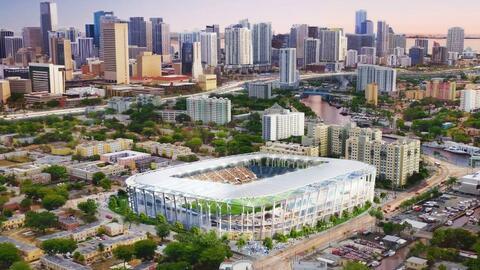 A rendering of David Beckham's MLS Miami stadium concept.