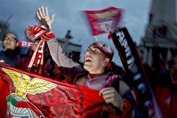 Seguidores del Benfica celebran el 33 º título de Liga despu...