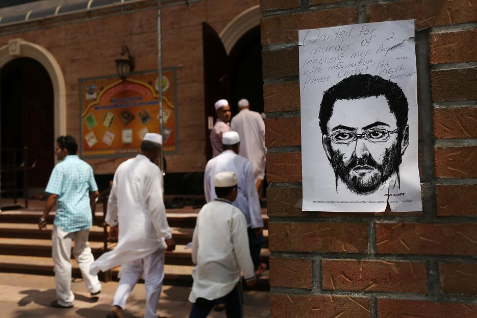 El boceto del asesino a las afueras de la mezquita en Ozone Park, Queens.