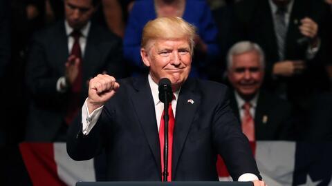 Donald Trump durante su discurso en Miami