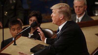 El presidente Donald Trump durante su discurso al Congreso este martes.