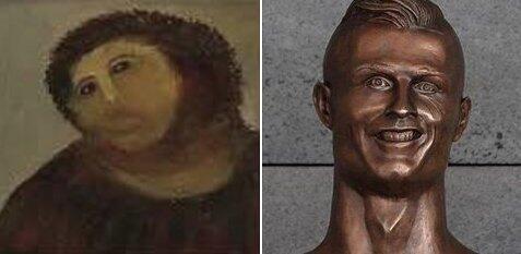 Los memes se burlan de Cristiano Ronaldo y su deforme escultura C8F5CdgW...