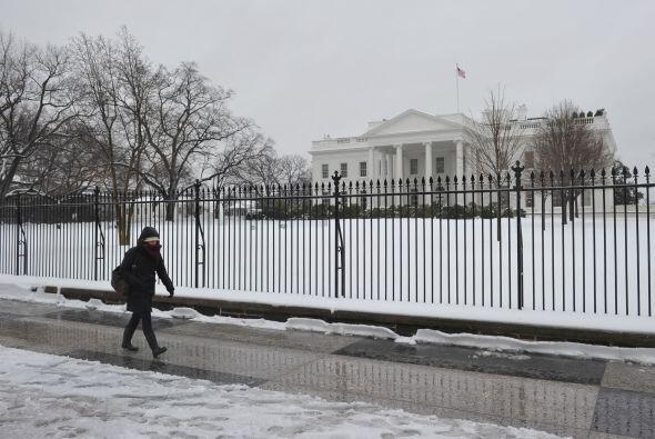El frente de la Casa Blanca se ve más blanco que nunca a causa de...