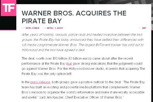 Warner Bros. adquiere The Pirate Bay (2009) - Esto es algo que WB seguro...