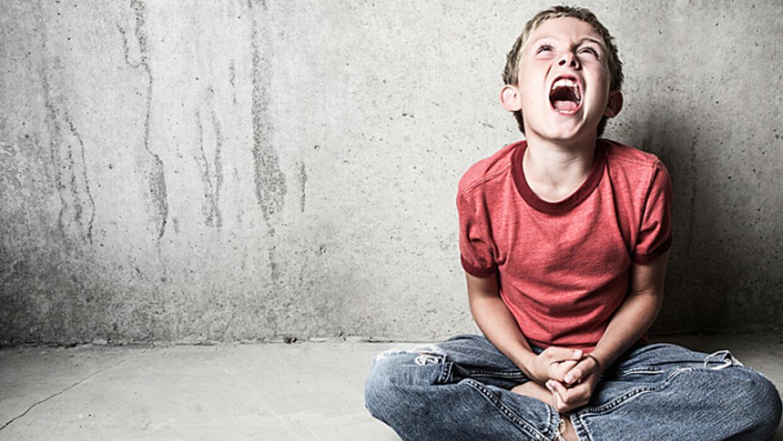 A child having a tantrum.