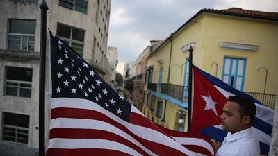 U.S. and Cuban flags in Havana, Cuba.